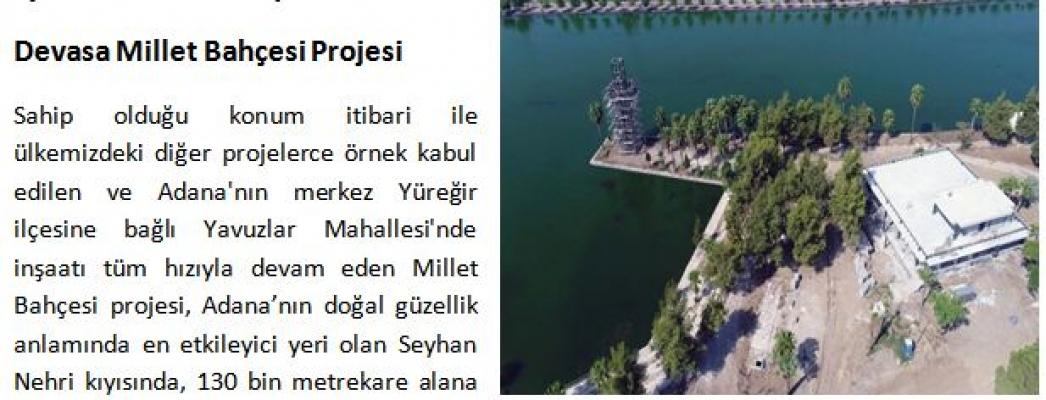 Adana'da Millet Bahçelerinin İlki Ekimde Halkla Buluşacak