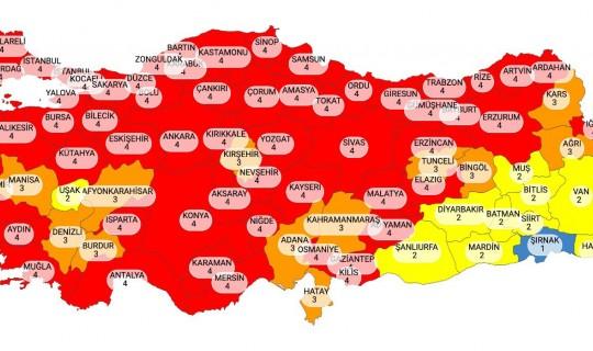 Türkiye Haritası Kırmızıya Büründü
