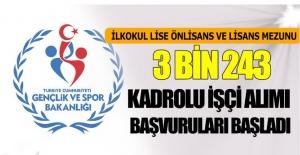 Gençlik ve Spor Bakanlığı Kadrolu 3243 Personel Alımı
