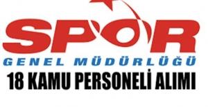 Spor Genel Müdürlüğü 18 Kamu Personeli Alımı