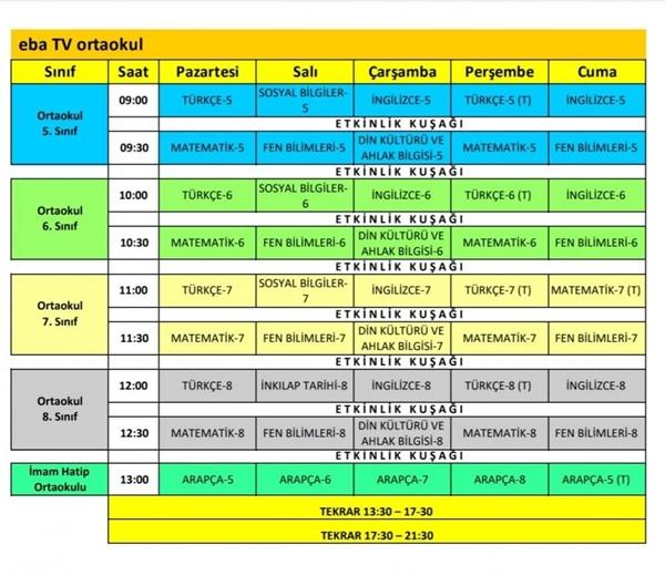 EBA TV Uzaktan Eğitim Haftalık Ders Programı: İlkokul Ortaokul Lise